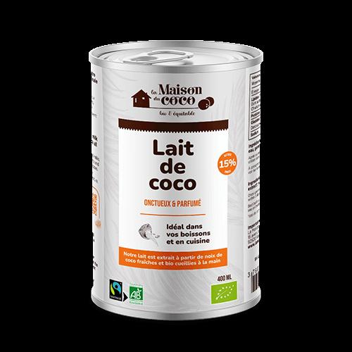 photo Lait de coco bio 15% de matières grasses produit La Maison du coco