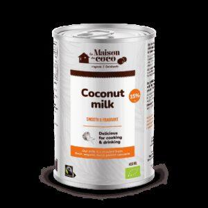 Organic coconut milk 15 % 400 ml La Maison du coco